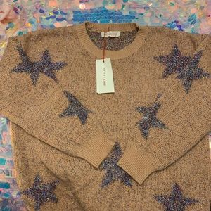 Solitaire Sparkly Tinsel Star Sweater